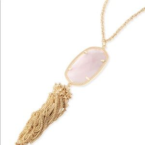 NWOT KENDRA SCOTT ROSE QUARTZ/GOLD RAYNE NECKLACE!